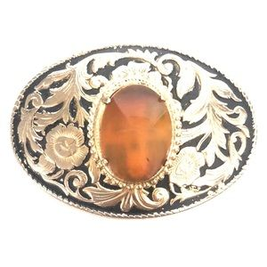 Vintage Gold Plated Amber Oval Belt Buckle